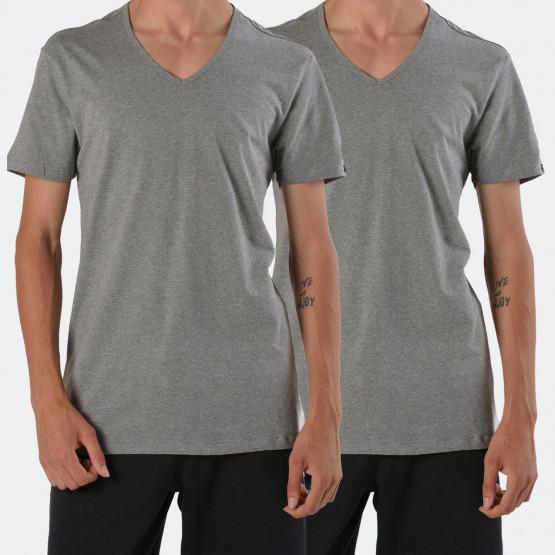 Puma Basic V-Neck Men'S Grey Tee 2 Per Pack