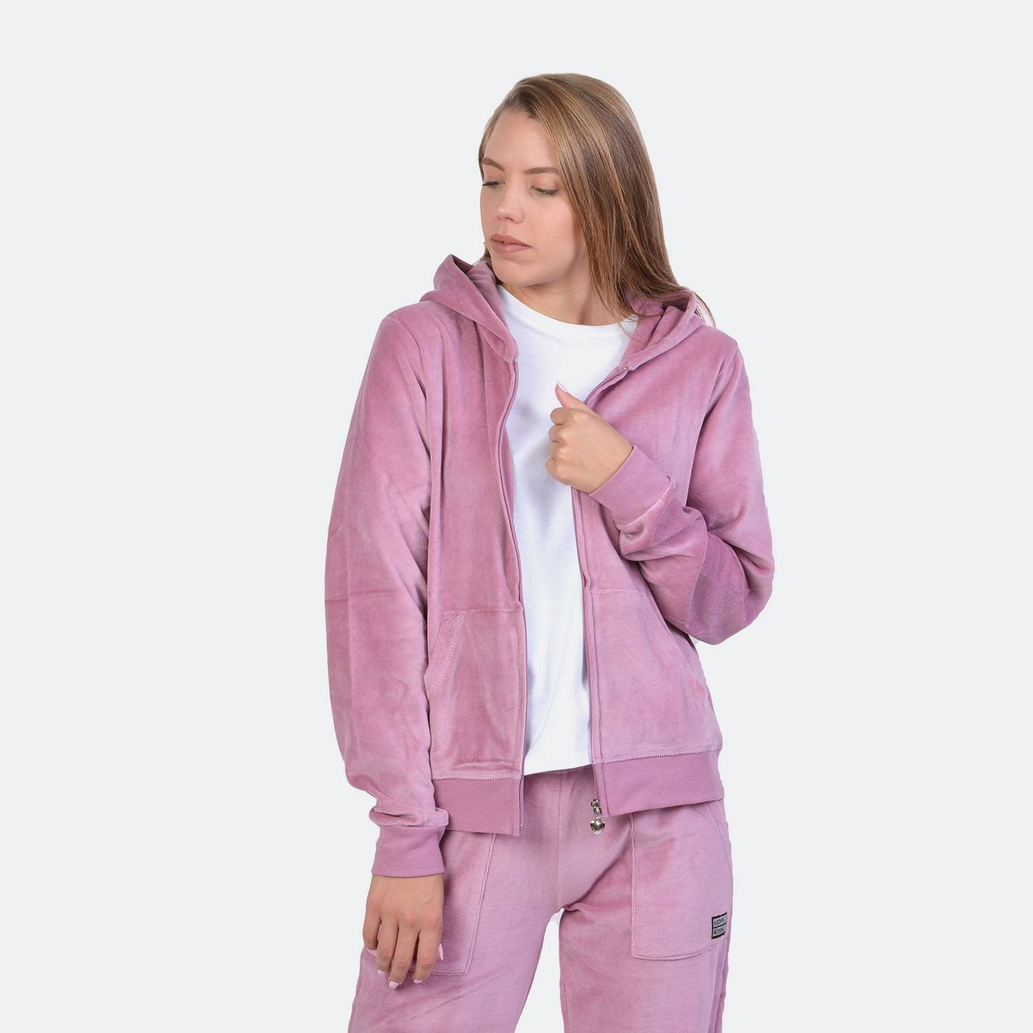 Body Action Velour Hoodie Jacket - Γυναικεία Ζακέτα (9000041213_1893)