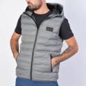 Body Action Men Zip-Through Quilted Vest With Hood