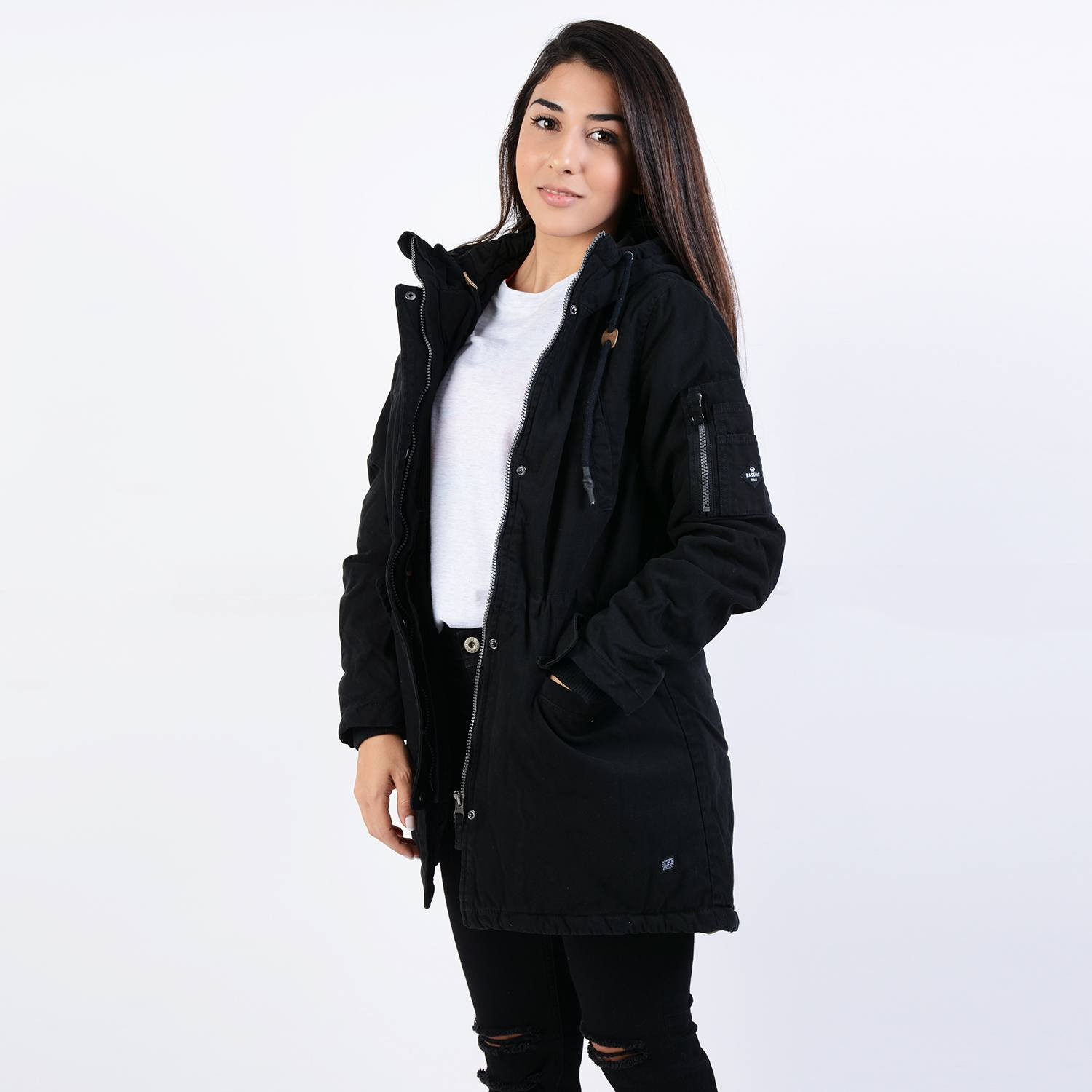 Basehit Women's Washed Long Jacket with Hood (9000043003_4924)