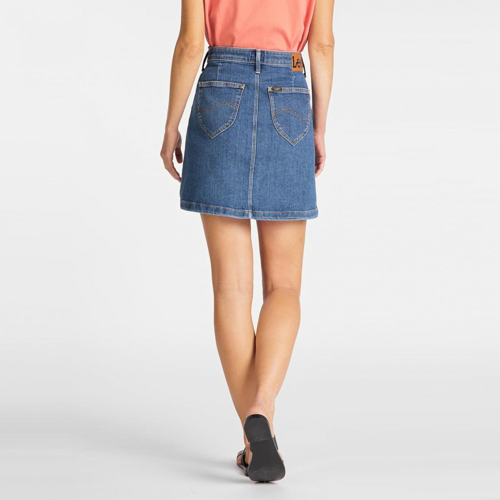 Lee Women'S A Line Skirt Mid Stonewash
