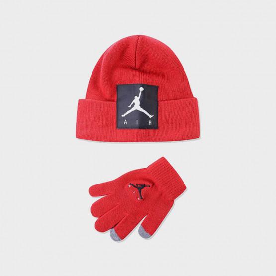 Jordan Offset Patch Beanie Παιδικό Σετ Σκουφάκι με Γάντια
