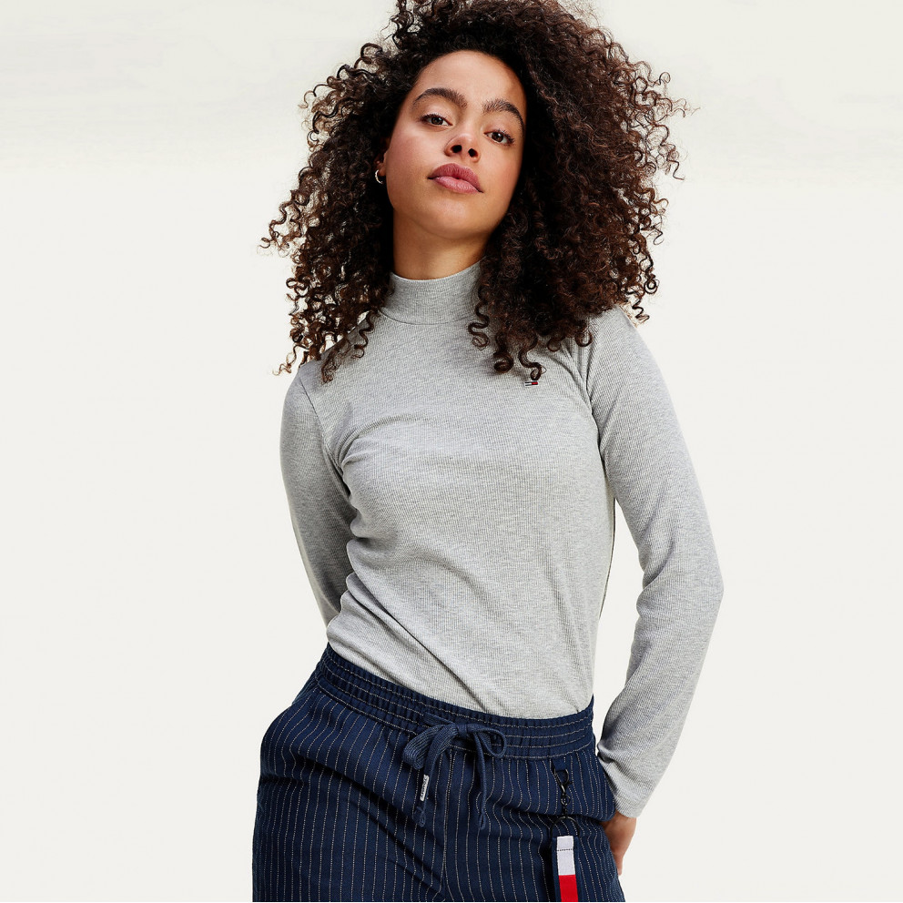 Tommy Jeans Rib Women's Turtleneck Long Sleeve Shirt