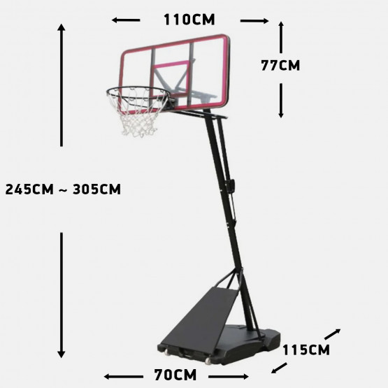 Amila Deluxe Basketball System, 115 X 70 X 18 Cm