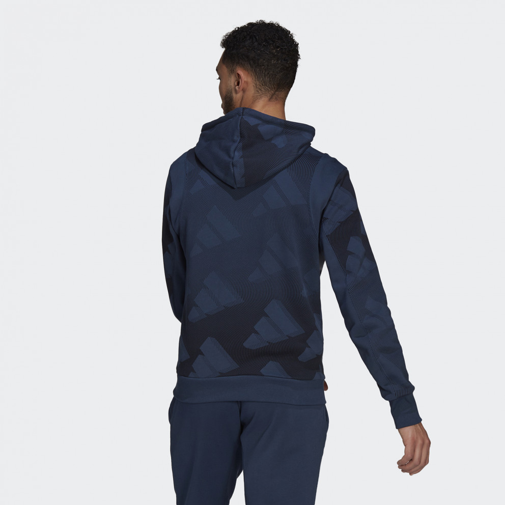 adidas Sportswear Allover Print Ανδρική Μπλούζα με Κουκούλα