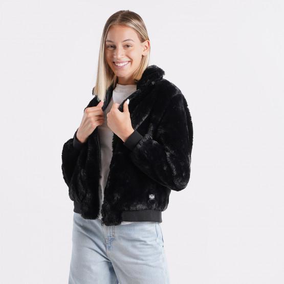 Basehit Fake Fur Γυναικείο Μπουφάν