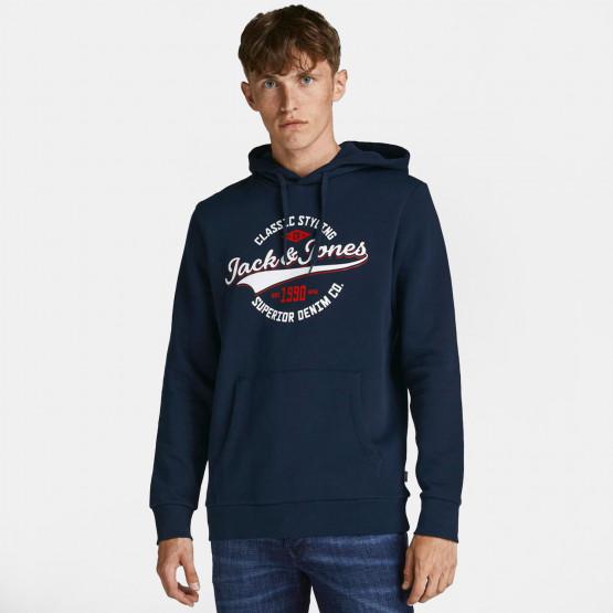 Jack & Jones Logo Ανδρική Μπλούζα με Κουκούλα