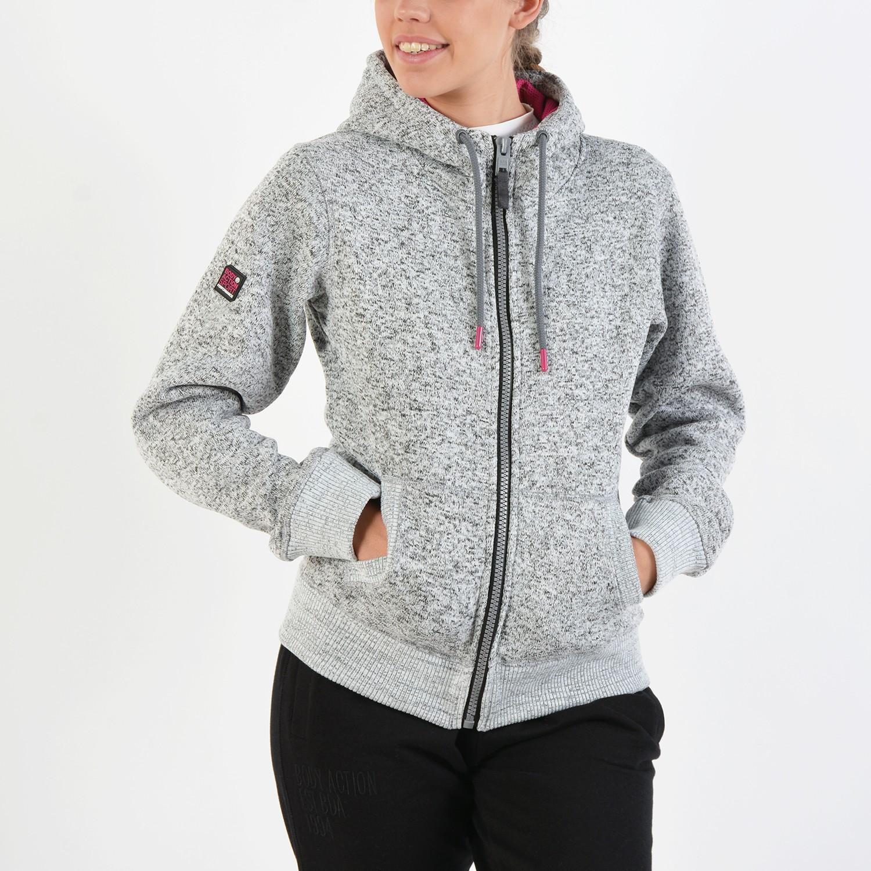 Body Action Women Thick Fleece Zip Hoodie (9000016617_18663)