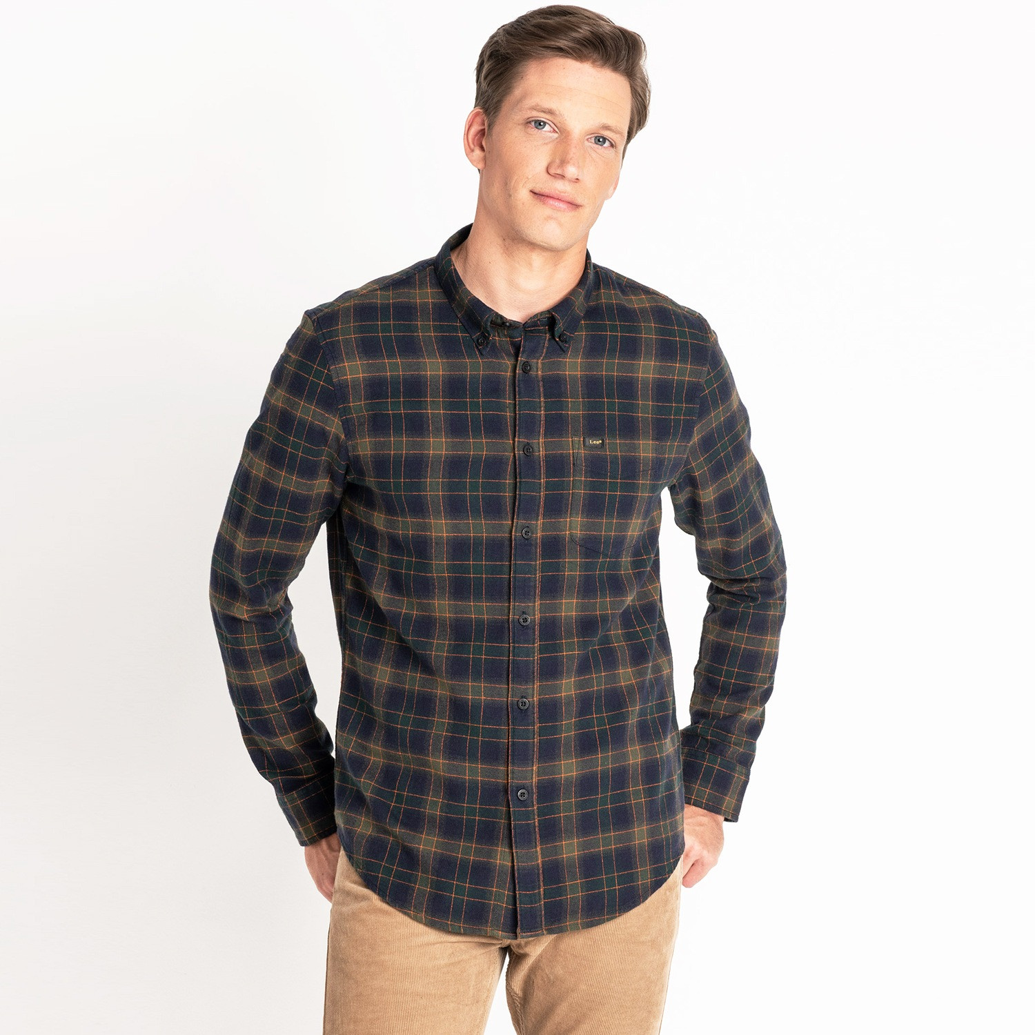 Lee LEE BUTTON DOWN DK BOTTLE GREEN (9000037254_22809)